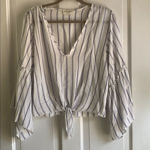 Lavender Field striped Top Bell sleeves